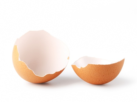 Broken egg on a white background Stock Photo