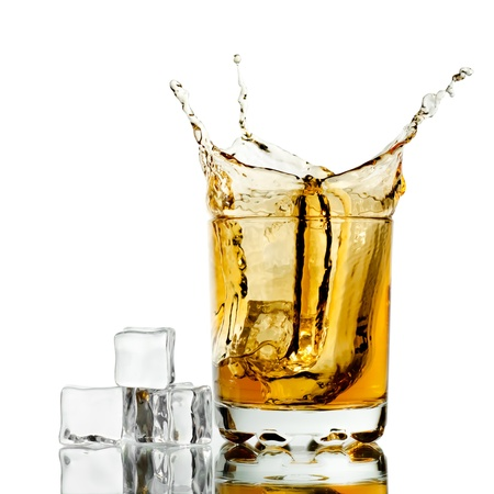intoxicant: Splashed whisky with ice cubes