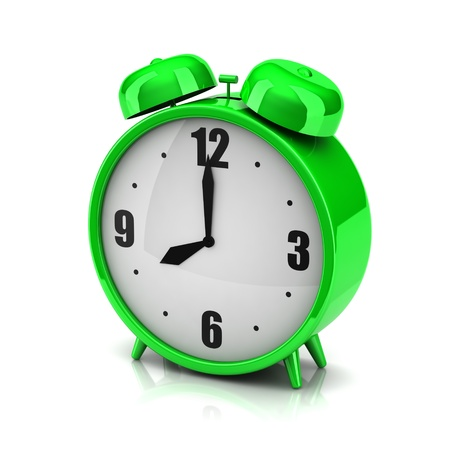 3d green clock alarm on a white background photo
