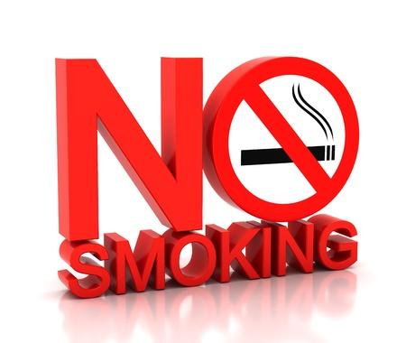 no fumar: 3d ni una palabra de fumar sobre un fondo blanco