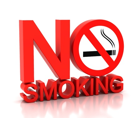 no smoking: 3d no smoking word on a white background Stock Photo