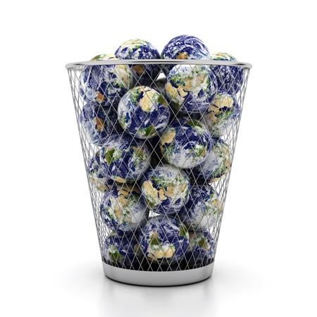 wastebasket: Three-dimensional globes in metallic wastebasket