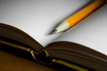 Close-up photography of pencil on blank pages of note book photo