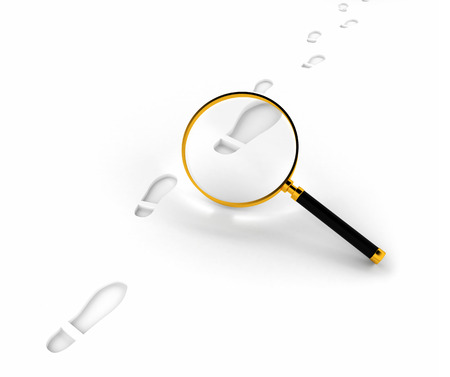 investigator: Looking through magnifying lens of footprint path