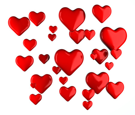 three object: Red hearts signs on a white background