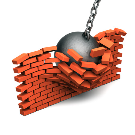 Metallic kernel damaged brick wall photo