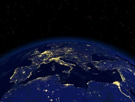 noche: El punto de vista de un lado de la noche la tierra desde el espacio Foto de archivo