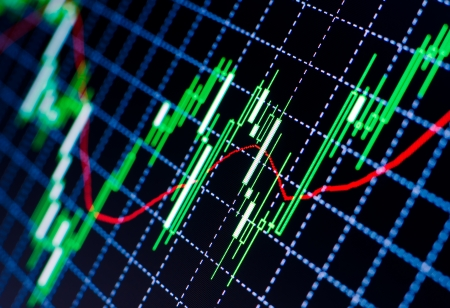 trader: Forex market charts on computer display