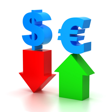 european exchange: Currency exchange on forex market.Symbol of dollar-euro pair.