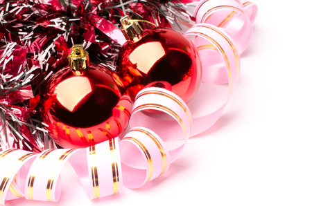 defocus: Red Christmas decoration on white background Stock Photo