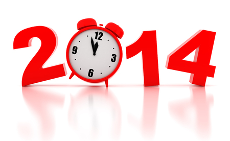 New year 2014 Illustrations 3d render on a white background illustration