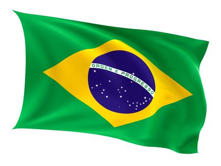 brazil flag: Flag of the Brazil on a white background. Stock Photo