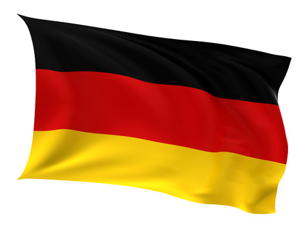 german flag: Flag of the Germany on a white background. Stock Photo