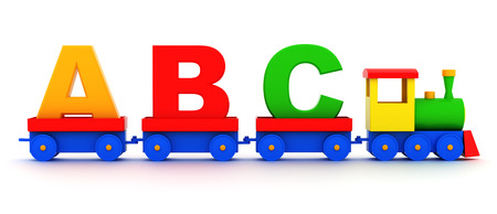 Letters abc in toy train carriages on a white background