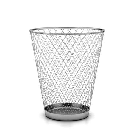wastebasket: Metallic wastebasket 3d illustration on a white background Stock Photo