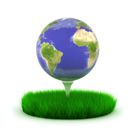 Globe earth on golf tee with grass photo