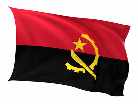 Flag of the Angola on a white background. photo