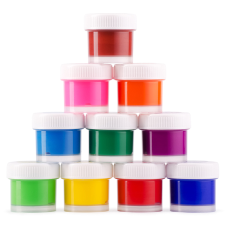 fine arts: Pyramid from jars of gouache on a white background Stock Photo
