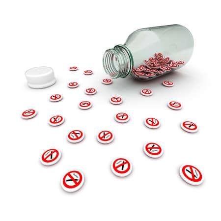 recreational drug: Antinicotine drug from glass bottle