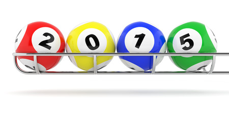 New Years 2015 lottery balls on a white background photo