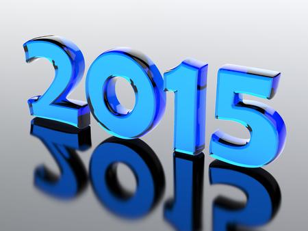 Glass number of 2015 year.3d render illustration illustration