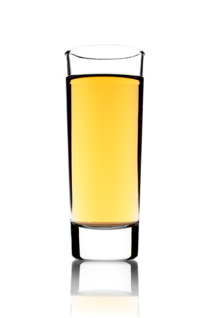 intoxicant: Glass of rum on a white background