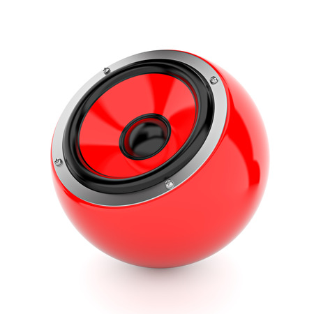party system: Render illustration of yellow sound speakers on ball