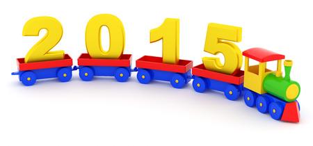 The toy locomotive transports 2015 new year photo
