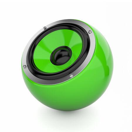 sub woofer: Render illustration of green sound speaker on white