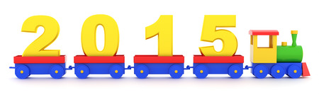 The toy locomotive transports 2015 new year photo