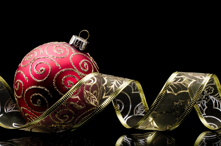 Christmas decor toy with ornament ribbon photo