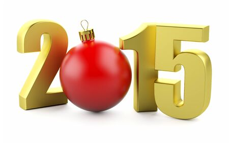Gold number of 2015 years and chrismas toy on white. photo