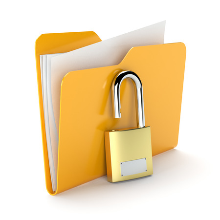 filing system: Orange folder with a documents and padlock isolated on white
