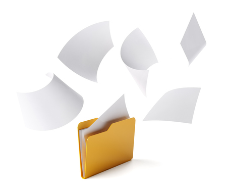 filing system: Orange folder with a documents isolated on white. Stock Photo