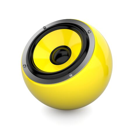 sub woofer: Render illustration of yellow sound speaker on white