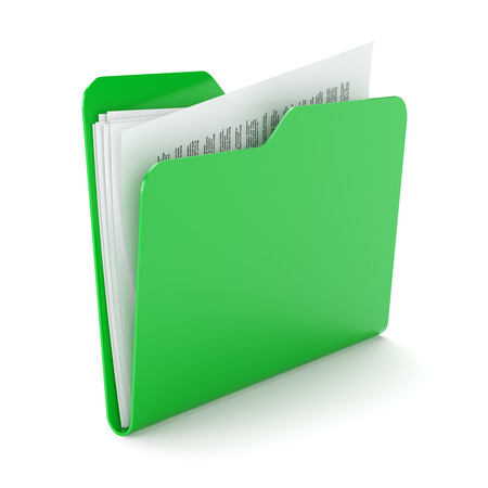 filing system: Green folder with a documents isolated on white.