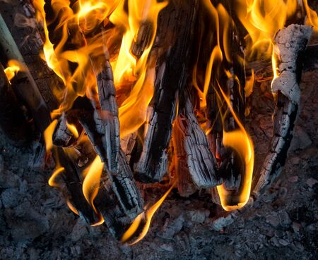 stock photography: Firewood in flame close-up stock photography
