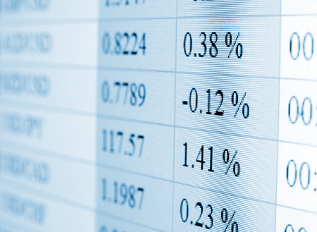 rate: Currency exchange rate for forex market on computer monitor