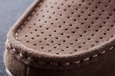 moccasins: Close up photo of suede moccasins shoe Stock Photo