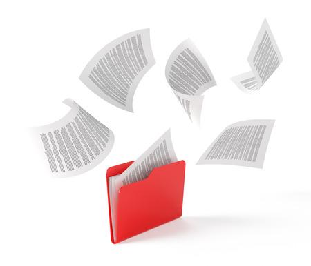 documentos: Carpeta roja con los documentos aislados en blanco.