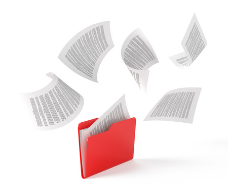 filing documents: Red folder with a documents isolated on white.