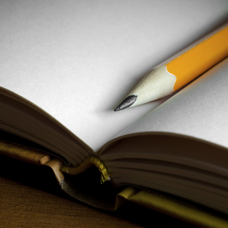 blank note: Close-up photography of pencil on blank pages of note book