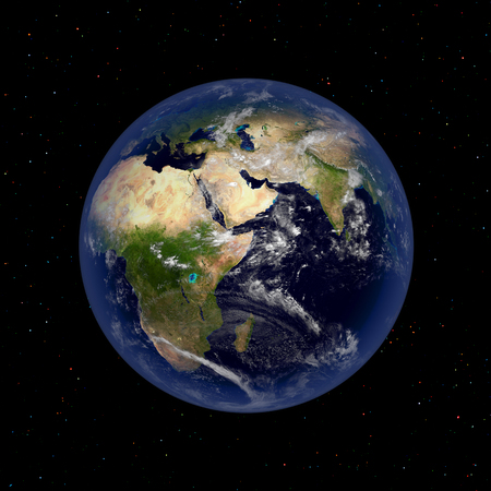 earth from space: Earth planet illustration view of outer space Stock Photo