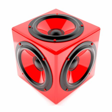 red sound: Render illustration of red sound speakers on cube