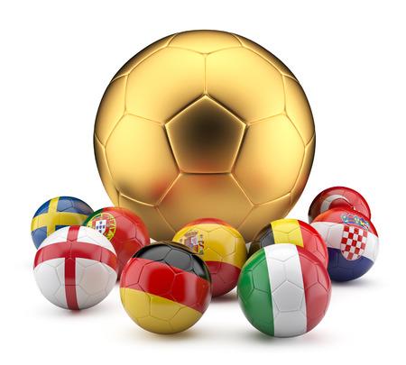 pelota de futbol: Football balls in flags and gold color.3d illustration. Foto de archivo