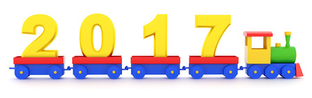 The toy locomotive transports 2017 new year