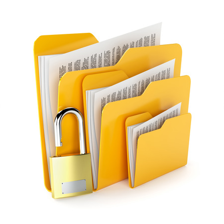 Orange folders with a documents and padlock isolated on white