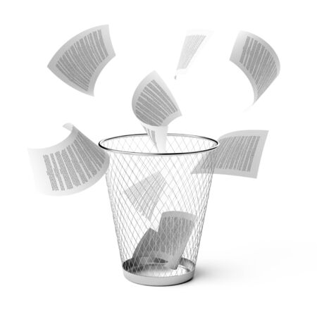 wastebasket: Isolated wastebasket with fly papers.3d illustration