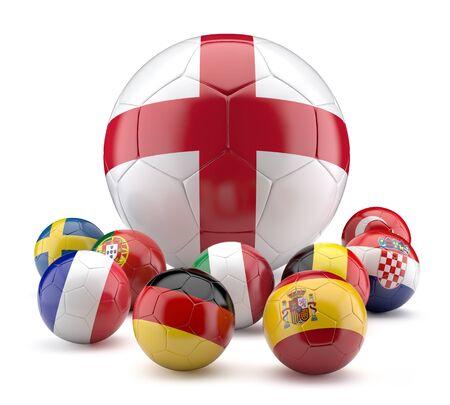 premier: Football balls in flags color.3d illustration.