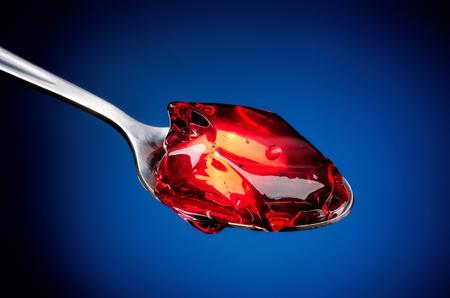 gelatina: Primer plano, rojo, fruta, jalea, cuchara